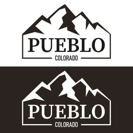 label with text Pueblo, Colorado written inside, vector illustration Çizim