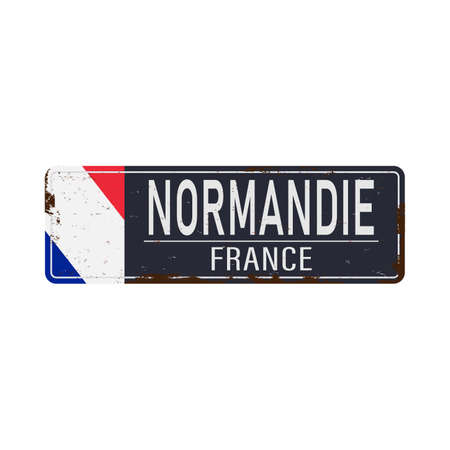 Location of Normandy road sign. French Republic