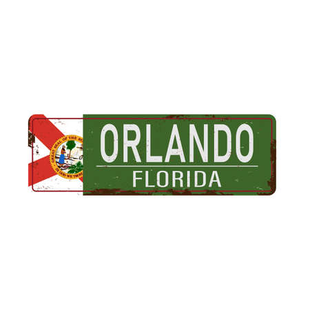 old green grunge Orlando road sign on a white background