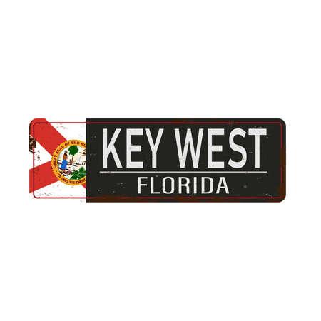 Vintage metal sign - Key West Florida - Vector EPS 10