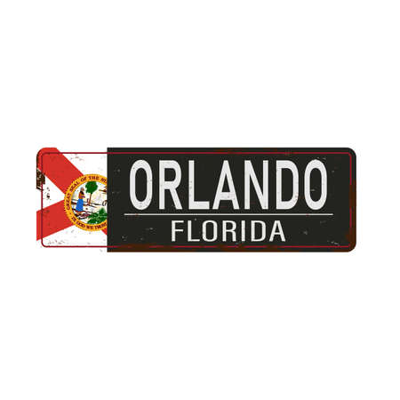 old grunge Orlando road sign on a white background