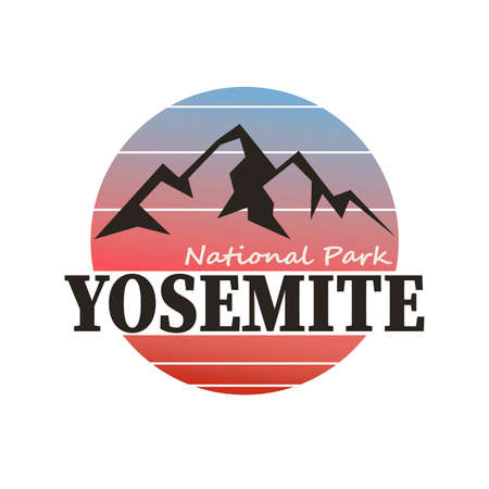YOSEMITE PARK, MOUNTAIN SLOGAN PRINT VECTOR LOGO DESIGN