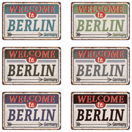 Vintage Touristic Greeting Card road sign - Berlin, Germany - Vector EPS10. Grunge effects can be easily removed for a brand new, clean sign. Иллюстрация
