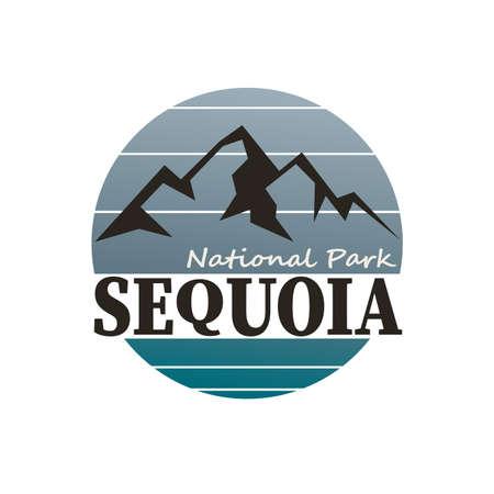 Modern mountain sequoia logo. Vector illustration. on white