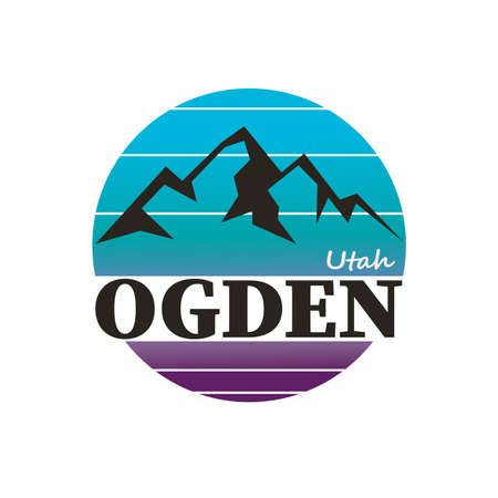 Ogden city in state of Utah, USA. Vector illustration
