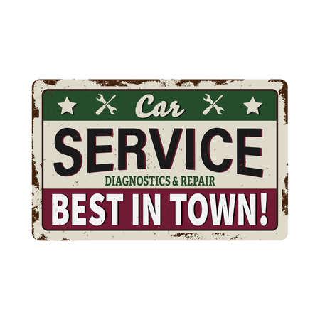 Retro car service metal vintage sign. Vector illustration. on a white background