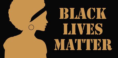closeup silhouettes of woman face for black lives matter poster Иллюстрация