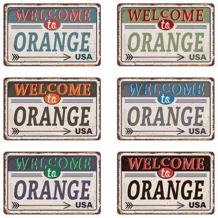 Welcome to Orange city vintage old rusted grungy road sign Stock Illustratie