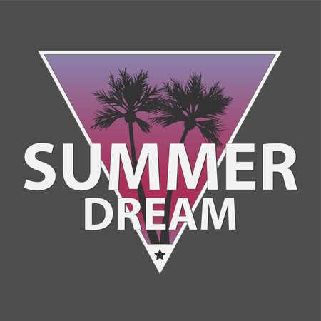 SUMMER DREAM LOGO Handmade Palms trees retro style. Design fashion apparel textured print. 向量圖像