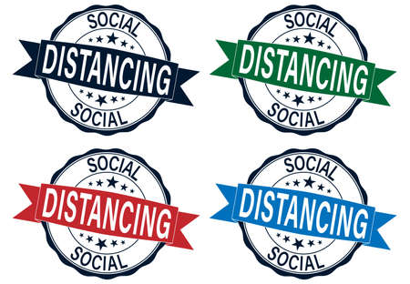 Social distancing color rubber stamp vector set isolated for social distancing concept