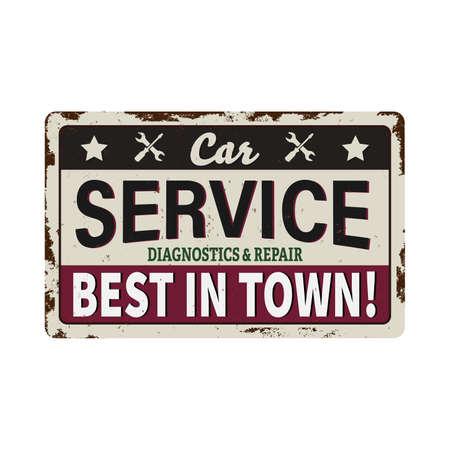 Car service vintage signboard - Vector artwork in custom colors, grunge effect in separate layer