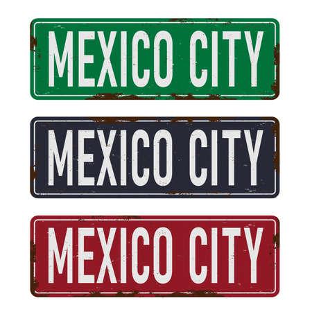Retro tin sign collection with Mexico city Vintage vector souvenir sign or postcard templates. 向量圖像