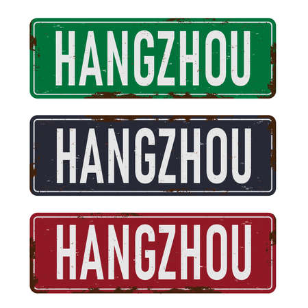 Hangzhou road sign isolated on white background.