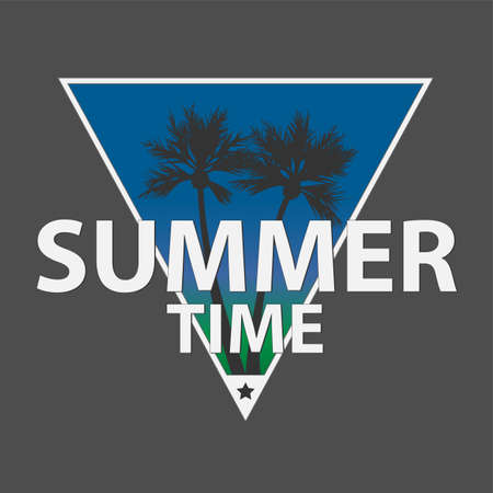 Design banner summer time. Flyer for summer season with triangle frame