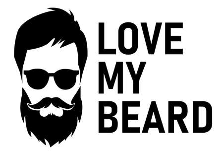 Vector illustration. Bearded man with silhouette face and text - love my beard. Cute funny hipster style poster. 向量圖像