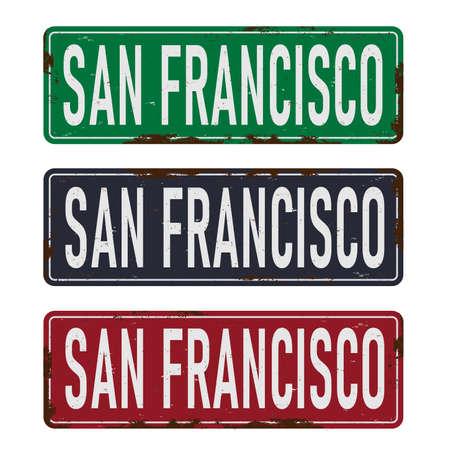 Vintage tin sign collection San Francisco. Retro souvenirs or postcard templates on vintage background.