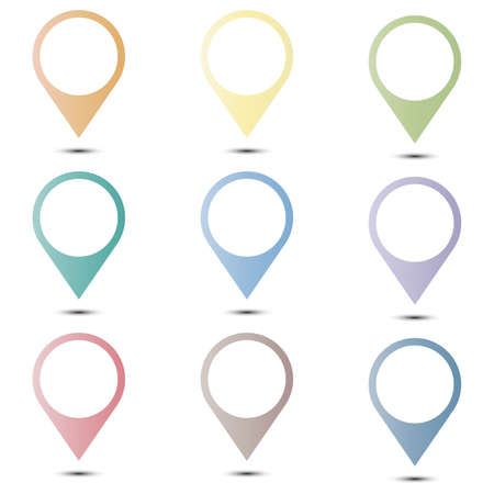 Set vector pin icons. Location sign in flat style isolated on isolated background. Navigation map