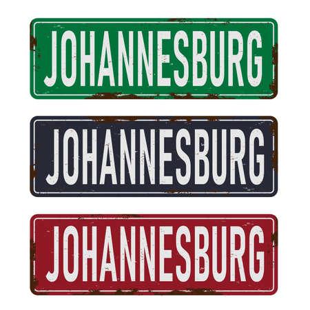 Johannesburg road sign isolated on white background. 向量圖像