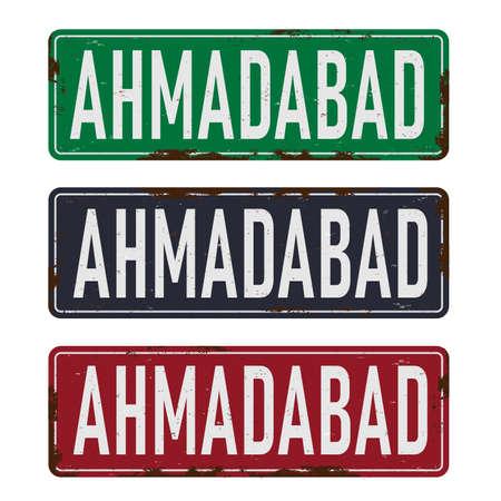 a road sign Ahmadabad rustey grungy metal vector