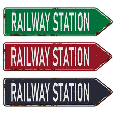 railway station train metal vector road sign Ilustração