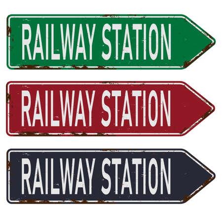 railway station train metal vector road sign 向量圖像