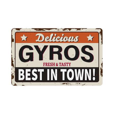 Gyros vintage rusty metal sign on a white background, vector illustration 向量圖像