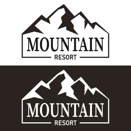 mountains resort symbol. Vector monochromatic sign, logotype.