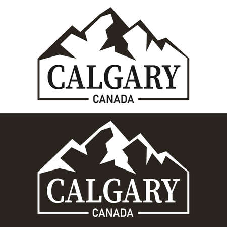 calgary mountain modern flat logo on a white or black background 向量圖像