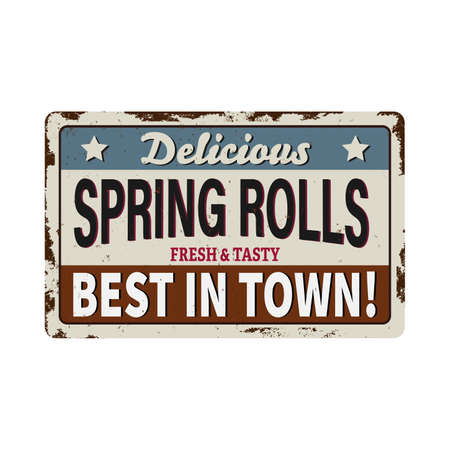 Retro Japanese Springrolls metal sign Illustration of a design vintage and grunge textured poster, with springrolls specialty, for asian fast food snack and takeaway menu 向量圖像