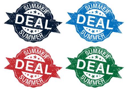 summer deal grunge color stamp set with on vector illustration