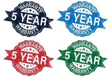 Five year warranty stamp color set , vector illustration 向量圖像