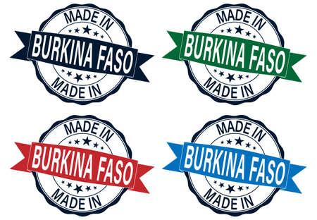 Made in Burkina Faso Quality Original Stamp Design Vector Art Tourism Souvenir Round