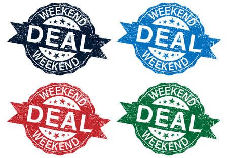 Weekend deal grunge rubber stamp set on white background, vector illustration