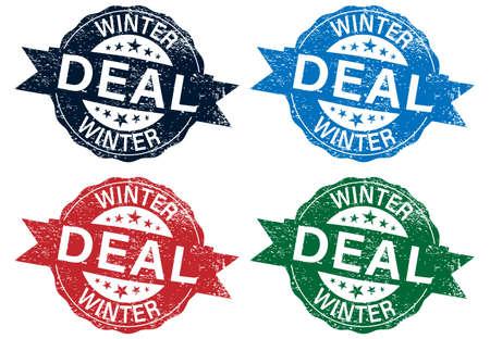 Winter Deal Vector illustration logo. set Design for postcards, t-shirts, banners, greeting card, event, flyer. Winter deal, promo, angebot. 向量圖像