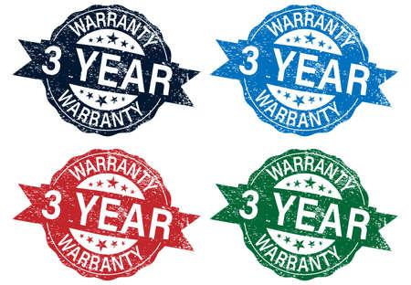 3 year warranty stamp color set , vector illustration
