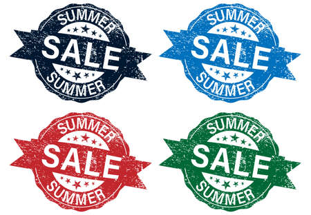 Summer sale grungy stamp isolated on white background