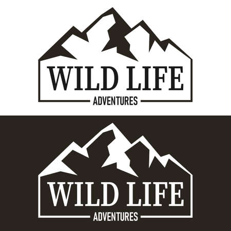 Outdoor Theme Mountain Wiod Life Illustration with Wild Life Slogans Vector Artwork For T-shirt Print And Other Uses