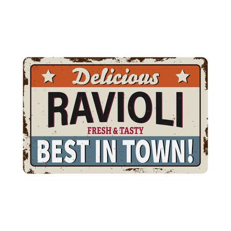 Italian pasta ravioli , traditional cuisine food, restaurant menu vector vintage posters. 向量圖像