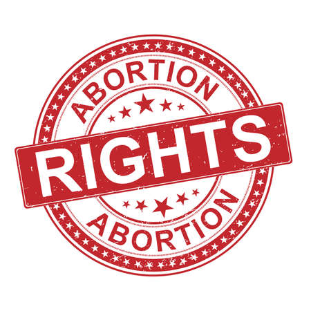The inscriptionabortion rights Rubber Stamp Flat vector on white background 向量圖像