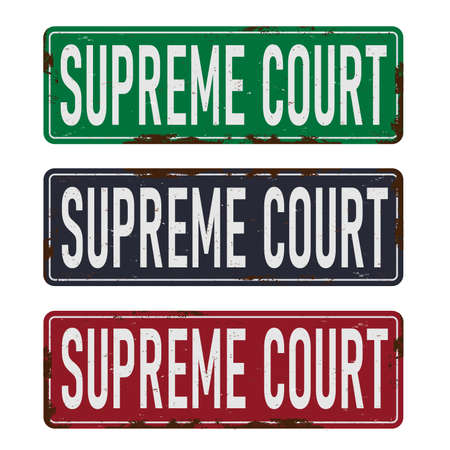 Supreme court metel road sign. Justice and law 向量圖像