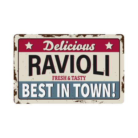 Italian pasta ravioli , traditional cuisine food, restaurant menu vector vintage posters. Иллюстрация