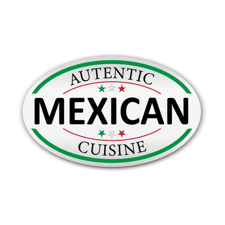 Autentic Mexican Cuisine White sticker on white background. Paper Banner Vector illustration. 向量圖像