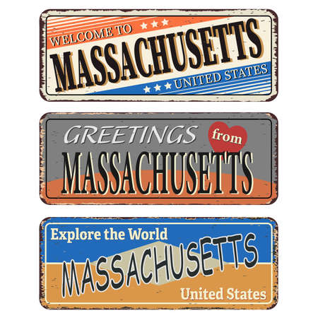 Massachusetts Retro souvenirs or old postcard templates on rust background.