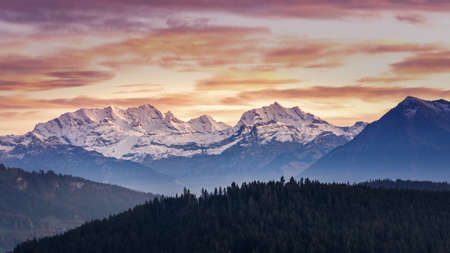 Glowing Alps BERNER OBERLAND swiss mountains sunset