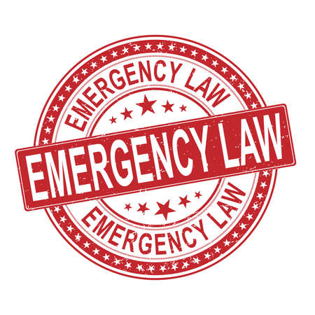 emergency law stamp. Typographic sign, badge 向量圖像