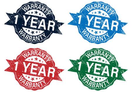 1 year warranty stamp color set , vector illustration 向量圖像