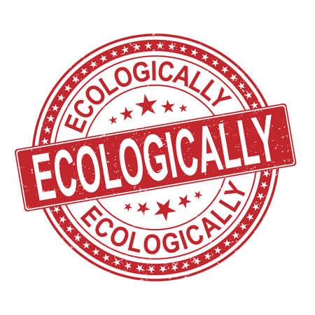 red Ecologic Certified Original Stamp. ECOLOGICALLY Design Vector Badge Art. Quality Badge.