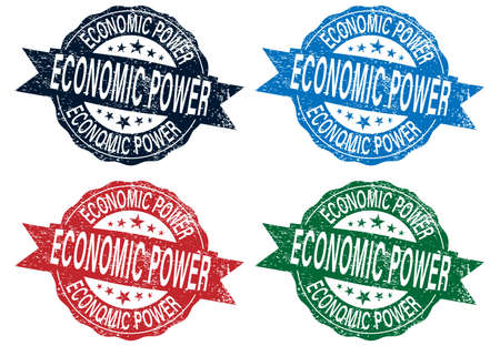 economic power stamp set colored stamps on a white background