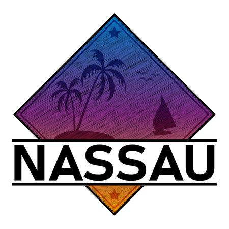Bahamas Nassau t-shirt and apparel design with rough palm tree