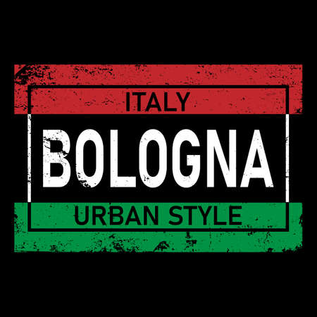 Bologna original style. European city typographic script font for prints, advertising, identity. Hand drawn touristic art in high quality. Travel and adventure